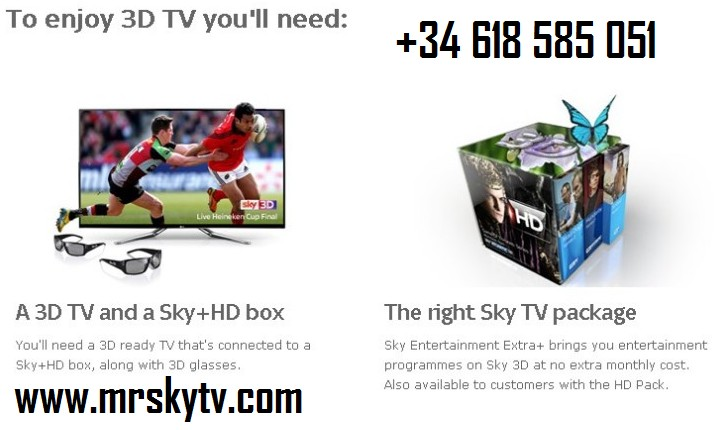getting sky tv in spain we can organise sky cards in spain and sky hd 3d tv systems in spain