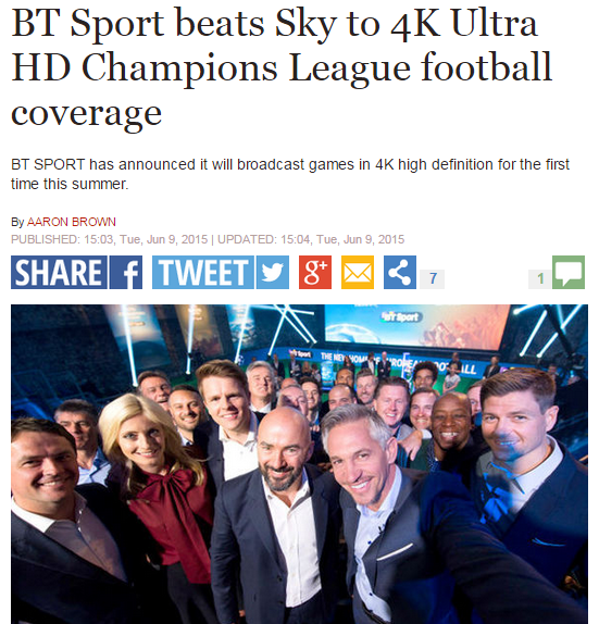 BT SPORTS ULTRA HD TV NEWS - SKY TV SPAIN